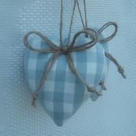 Pair heart decorations duck egg blue gingham