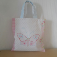 Child's tote bag mini tote pink butterfly