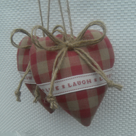 Heart door hangers in Laura Ashley raspberry gingham