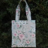Tote bag pink floral shopper spotty lining