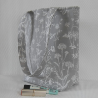 Tote bag long handles in steel grey Laura Ashley fabric