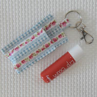 Key ring keyring lip balm holder in floral fabric