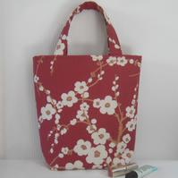 Short handled tote bag in cranberry Laura Ashley fabric