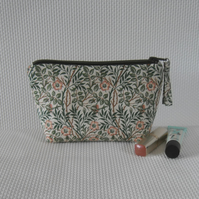 Make up bag with zip in William Morris fabric