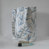 Tote bag long handles in blue leaf print Laura Ashley fabric