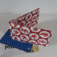 Mini travel credit card wallet holder pink and red floral