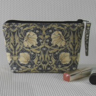 Zipped make up bag William Morris blue and cream