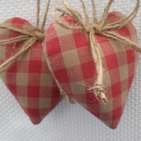 Pair padded heart door hangers in Laura Ashley raspberry pink gingham