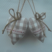 Pair heart door hangers Laura Ashley dark linen gingham
