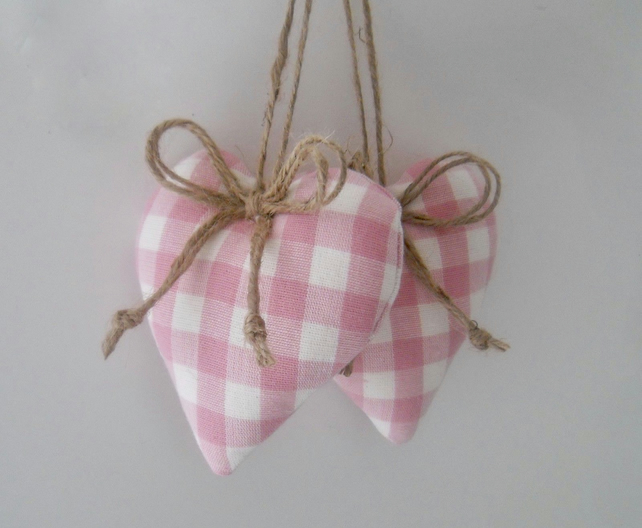 Pair padded heart door hangers in Laura Ashley pink and white gingham