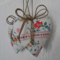 Pair heart door hangers Kidston white floral fabric