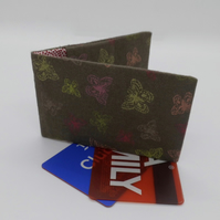 Mini travel credit card wallet holder butterfly fabric