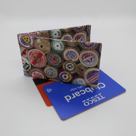 Mini travel credit card wallet holder cotton reel print