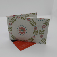 Mini travel credit card wallet holder  modern floral print