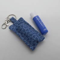 Key ring lip balm holder in blue fabric