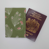 Passport cover in green cotton print