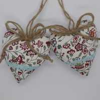 CLEARANCE Pair padded hearts Scandi style floral