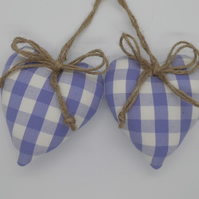 CLEARANCE Pair hearts mauve lilac and white check