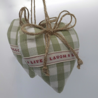 Pair heart door hangers Laura Ashley heath green gingham