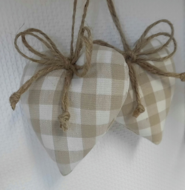 CLEARANCE Pair padded hearts hangers in Laura Ashley dark linen gingham