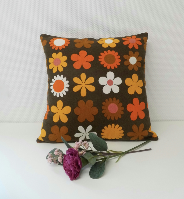 Vintage fabric complete cushion, lined and zipped.