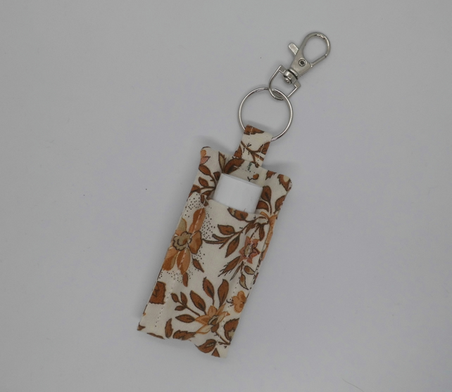 Key ring lip balm holder in Sanderson floral print fabric