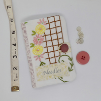 Sewing needle case in pink with embroidery