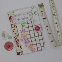 Sewing needle case pink with embroidery