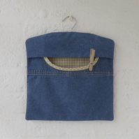 Denim peg bag clothes pins bag reclaimed fabric