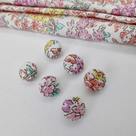 Six buttons covered in pink Liberty floral print 12mm