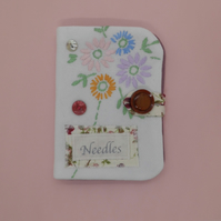 Sewing needle case using repurposed embroidery pink floral