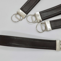 Leather wrist strap key ring
