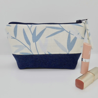 Make up bag in Laura Ashley fabric and denim
