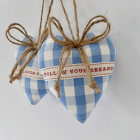 Pair hanging hearts Laura Ashley blue check