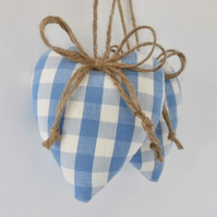Pair hanging hearts decorations Laura Ashley blue check