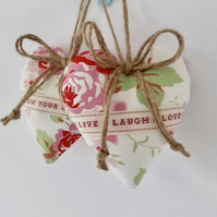 Pair hanging hearts floral pink and white fabric with words