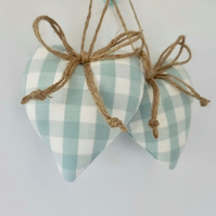 Pair hanging hearts decorations Laura Ashley duck egg blue check