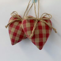 Pair hanging hearts Laura Ashley raspberry pink check gingham