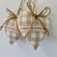Pair hanging hearts Laura Ashley dark linen gingham check