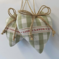 Pair hanging hearts Laura Ashley green check with words
