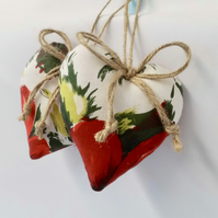 CLEARANCE Pair hanging hearts in vintage fabric