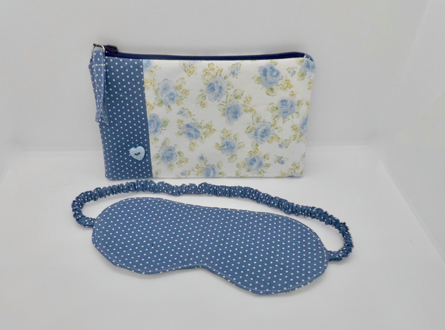 Make up purse with matching sleep mask eye mask
