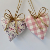Heart shape decorations in Laura Ashley pink fabrics floral and check