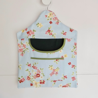 Peg bag in blue floral cotton fabric clothes pins bag with pocket