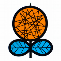 Linear Flower - Stained Glass Window Decoration