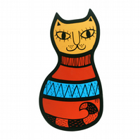 Sweater Cat - Stained Glass Window Decoration (IN STOCK)