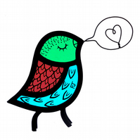 Stained Glass Singing Bird - Bright Colours (IN STOCK)