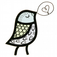 Stained Glass Singing Bird Window Decoration - Pale Colours (MADE TO ORDER)