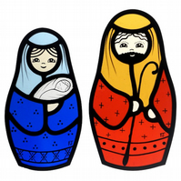 Stained Glass Russian Doll (Matryoshka) Nativity Set (MADE TO ORDER)
