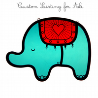 Stained Glass Elephant - Custom order for VAL
